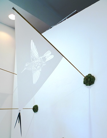 Installation view of ''Extinction Pennant (Bogota Sunangel - Extinct 1909)'