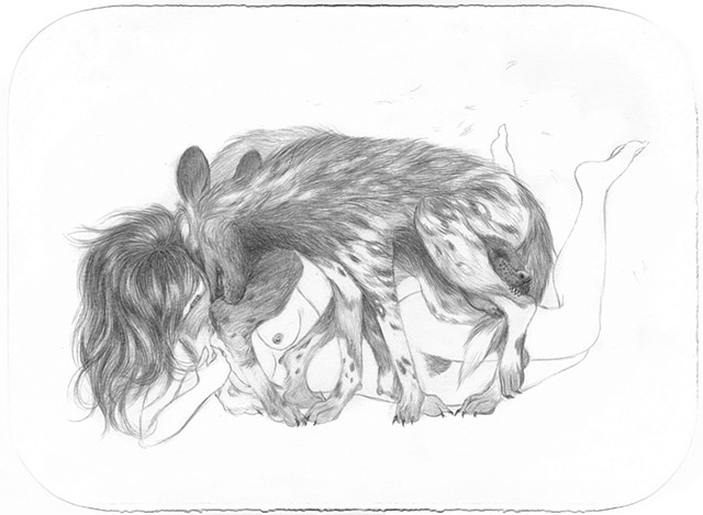 Drawing of woman wrestling with endangered African Wild Dogs by Jenny Kendler