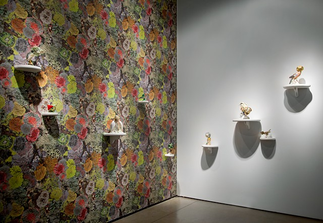 View of Camouflage bird sculptures and Natural Camouflage Lichen Wallpaper, which accompanied Tell it to the Birds at EXPO Chicago