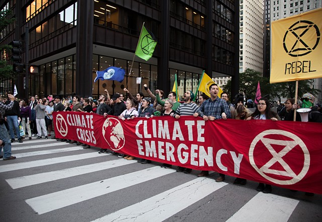 Oct 7th - Launch of the International Rebellion - Clark Street Blockade in front of City Hall