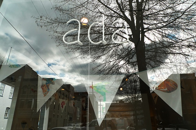 'Extinction Pennants' seen through ADA Gallery front window