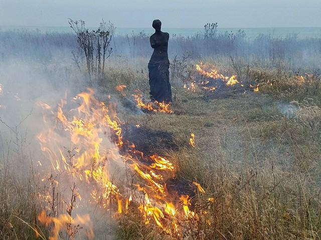 Venus XI during a controlled burn of the Burnham Wildlife Cooridor