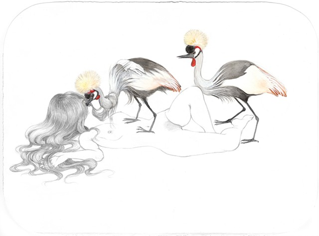 Drawing / Painting of a woman being fed by Gray Crowned Cranes by Jenny Kendler
