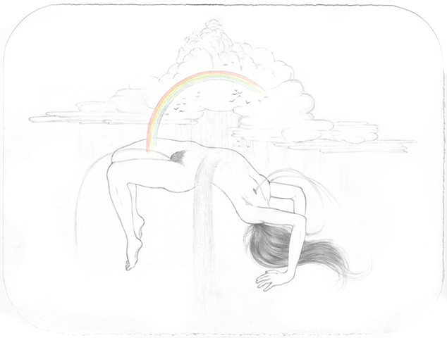 Drawing of a woman with a storm raining on her creating waterfalls by Jenny Kendler