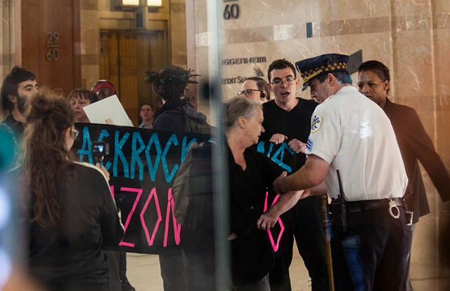Sept 5th - No Forests, No Life - rally, march and action in solidarity with Amazonia - Activists surprise security at BlackRock's Chicago Headquarters