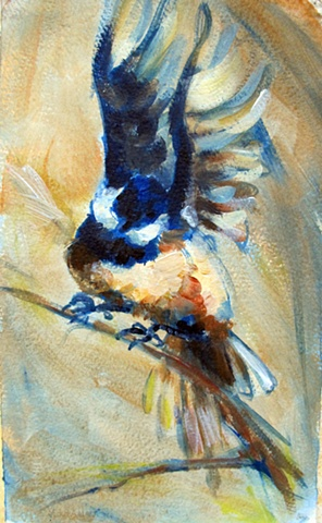 Acrylic painting of a chickadee in flight.