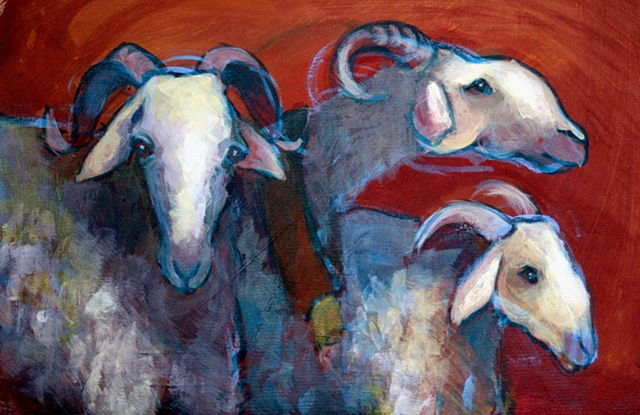 Acrylic painting of 3 dairy sheep