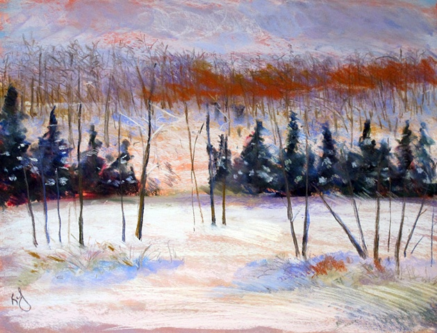 Lac Jeannie in the snow, pastel