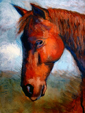Acrylic painting of a standard bred horse