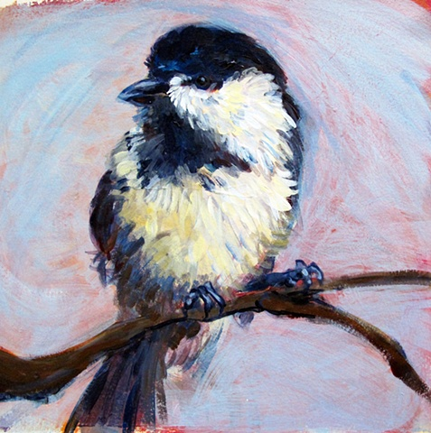Acrylic painting of a Chickadee