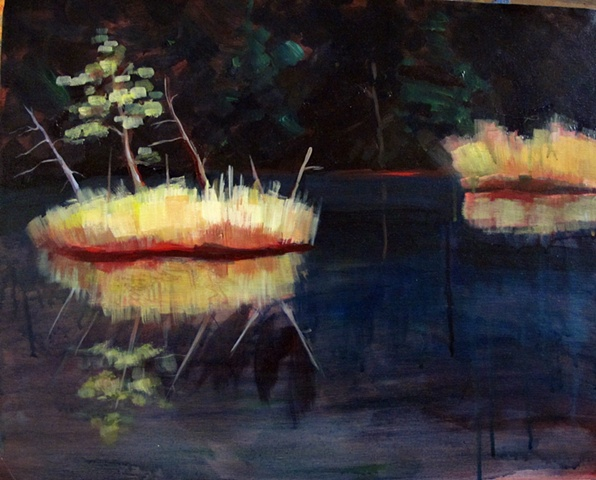 Acrylic painting of Lac jeannie with floating Islands