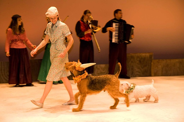 Digby, Rosie and I in 'Cymbeline' (not my photo)