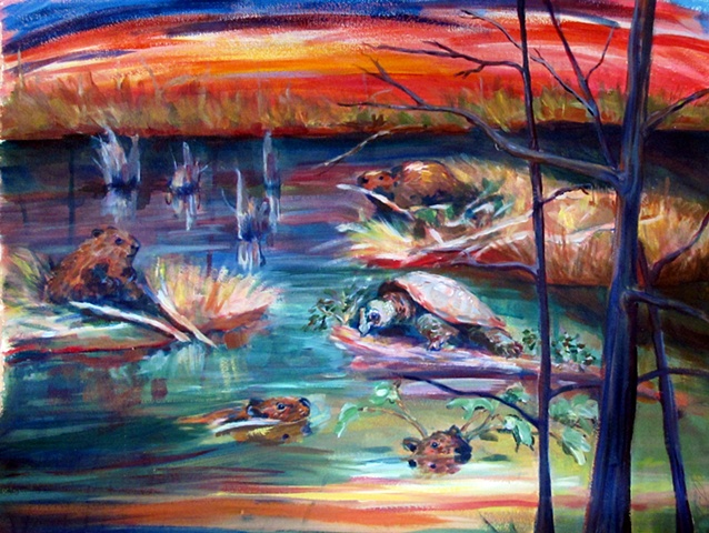 acrylic landscape with beavers