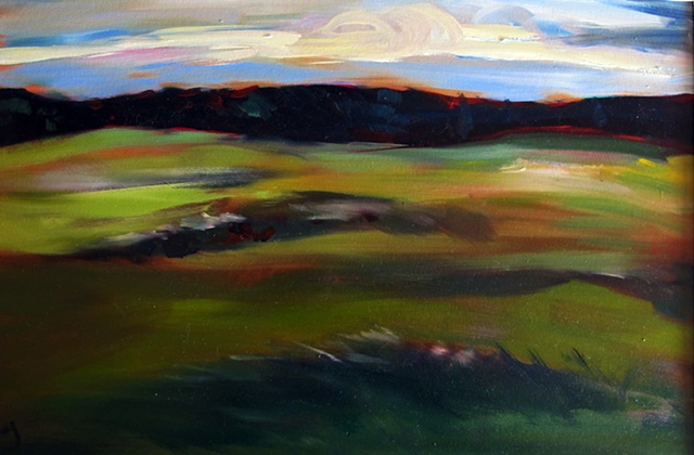 oil painting of field in quebec