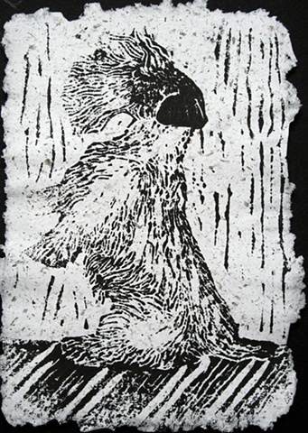 lino cut of a sealyham terrier