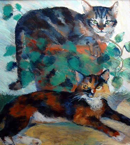 water colour and pastel portrait of 2 domestic short-hair cats.