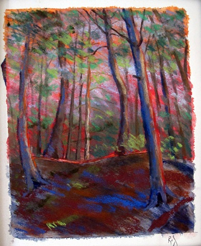 pastel painting of the forest at Lac Jeannie
