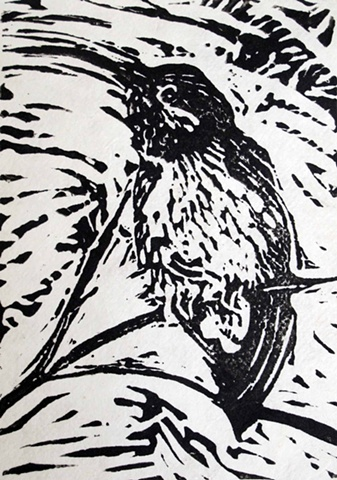 block print of hummingbird