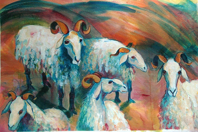 Acryllic painting of  dairy sheep