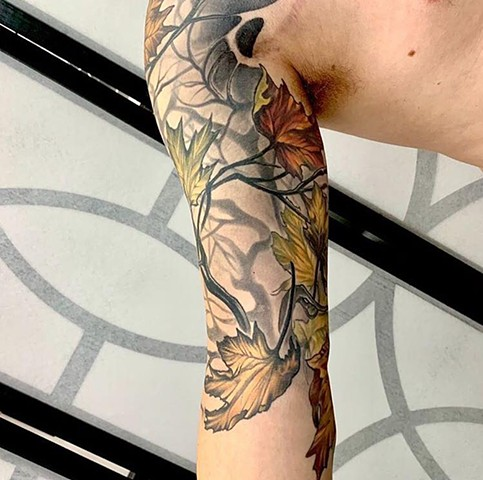 Color Tattoo maple leaves nature tattoo half sleeve custom design