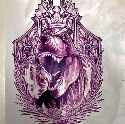 King T-Rex tattoo art sketch for client