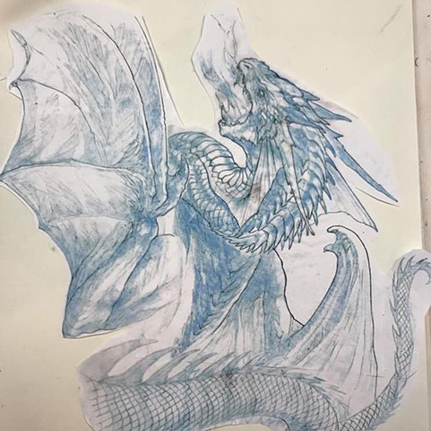 Dragon art sketch for sleeve