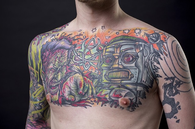 zombie vs. robot chest piece colour tattoo