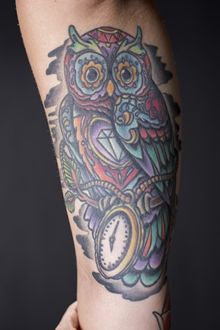 inner bicep jewel owl and pocket watch tattoo neo traditional