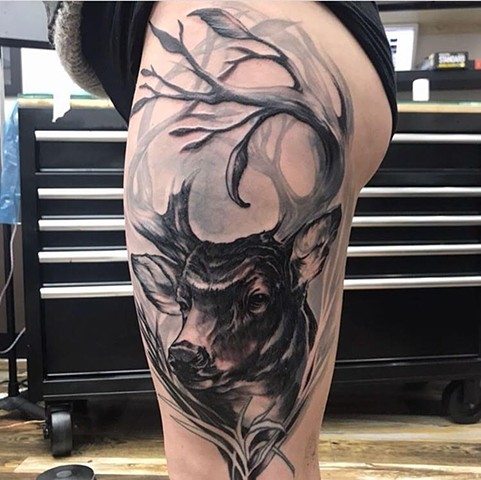 black and grey nature deer custom semi realistic illustrative tattoo style leg thigh tattoo