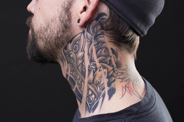 crown neck black and grey tattoo 2