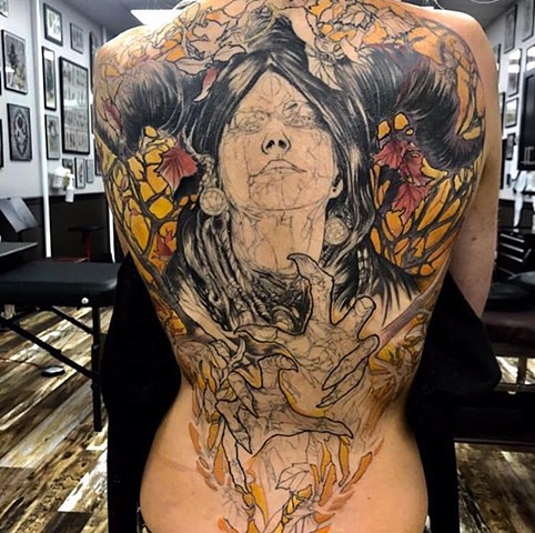 color back piece witch tattoo illustrative detailed custom full colour Tattoo