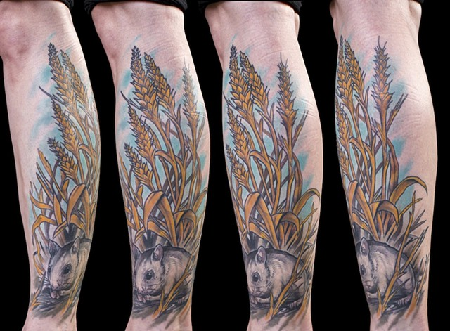 mouse in wheat calf colour tattoo