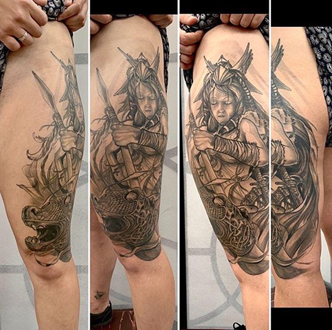 Black and grey illustrative custom tattoo norse mythology tattoo