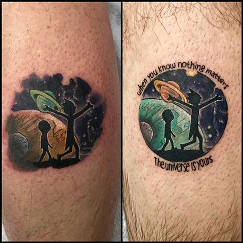 color outer space cosmic planet matching tattoos Rick and Morty cartoon tattoo