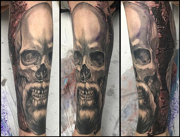 Black and Grey custom skull navigational tools atlas tattoo realistic