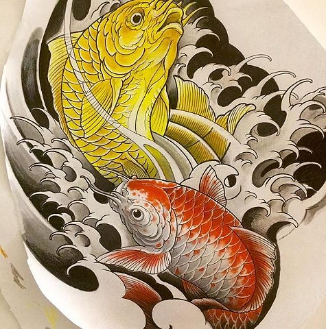 koi fish tattoo reference art