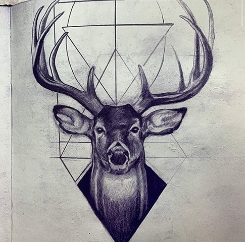 realistic semi realistic realism artwork tattoo drawing animals deer buck fawn antlers