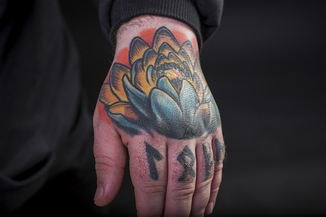 lotus hand colour tattoo 1