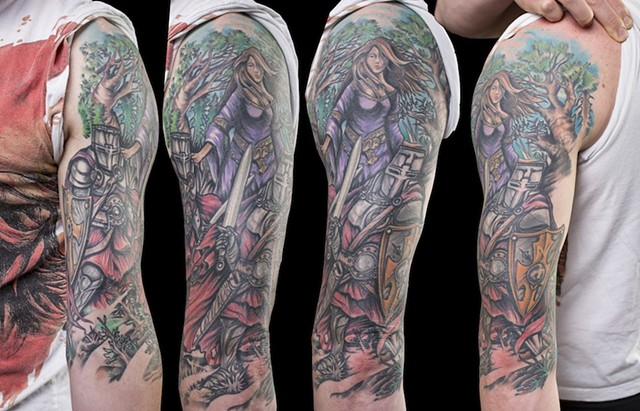 knight in shining armour half sleeve color tattoo