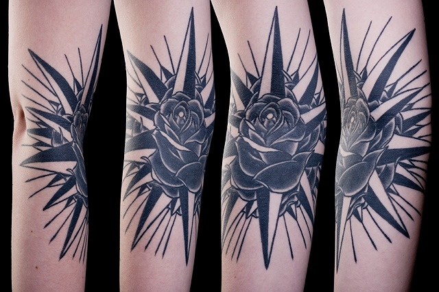 compass rose black and grey tattoo