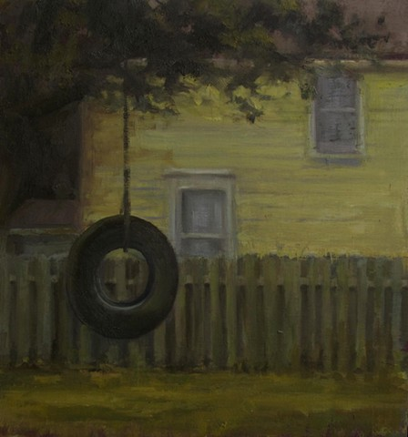 Tire swing Newton Kansas Bethel College Oil Painting