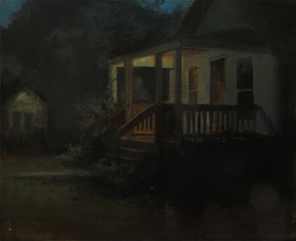 Nocturn Newton Kansas bungalow night painting oil
