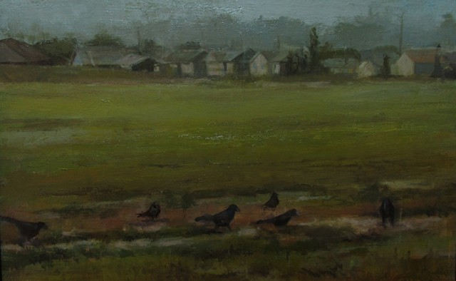 Newton Kansas  boat tailed grackle subdivision oil painting