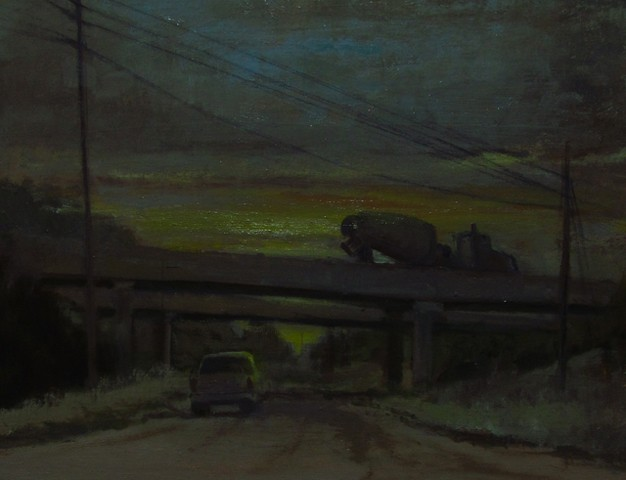 Newton Kansas headed home overpass car cement mixer sunset oil painting