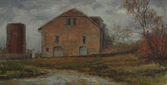 stone barn Tallgrass prairie strong city kansas z bar ranch oil painting plein air