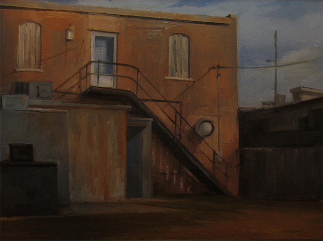 Newton Kansas oil painting fire escape setting sun reflections