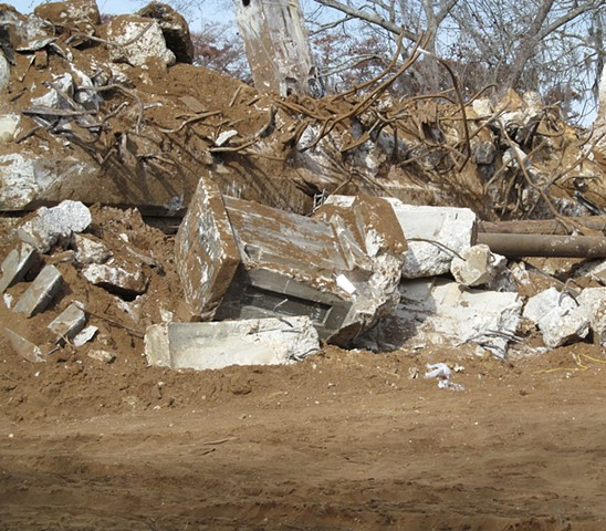 Rubble on the east end of the bridge.  The workers started on the ends working toward the middle.