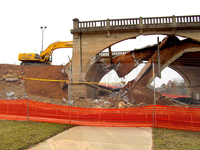 West end of bridge being demolished.