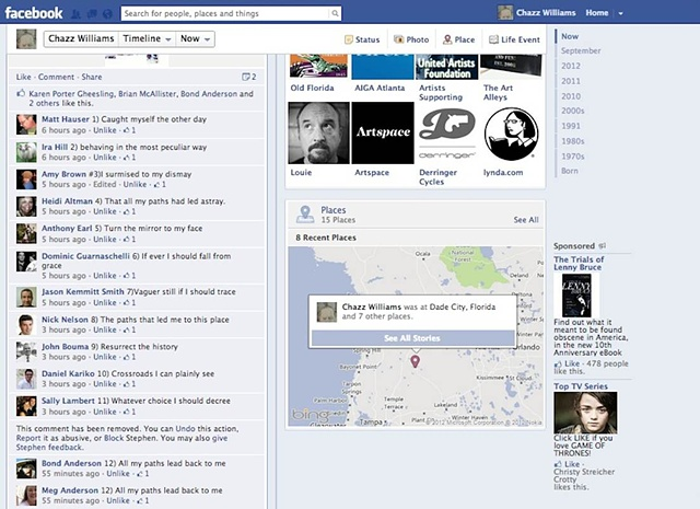 View of FB Page with text