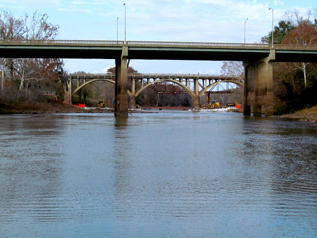 Three Bridges from Downriver (from rocky sandbar off East bank).